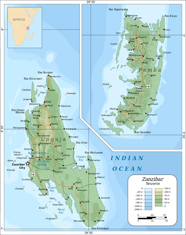Carte archipel zanzibar